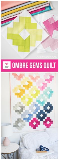 Ombre Gems Quilt - The Cotton and Steel Pigments one - by Emily of Quilty Love. Modern ombre quilt for the modern quilter. Modern quilt pattern. #ombregemsquilt #ombrequilt #modernquilt