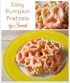 Easy Pumpkin Chocolate Covered Pretzels - great treat to make with kids!