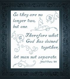 cross stitch bible verse Matthew So they are no longer two but one, Therefore what God has joined together, let man not separate. Wedding Cross Stitch, Cute Cross Stitch, Cross Stitch Charts, Cross Stitch Designs, Cross Stitch Patterns, Wedding Verses, Scripture Quotes, Bible, Punto De Cruz