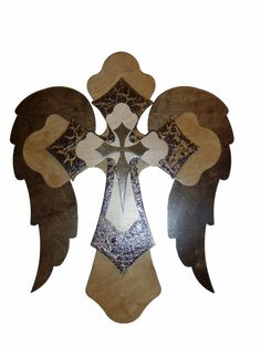 Angel Wing Finished Cross Layered Wooden by ArtisticCraftSupply Hand Painted Crosses, Wooden Crosses, Crosses Decor, Wall Crosses, Cross Patterns, Scroll Saw Patterns, Wood Patterns, Cross Wall Art, Grave Decorations