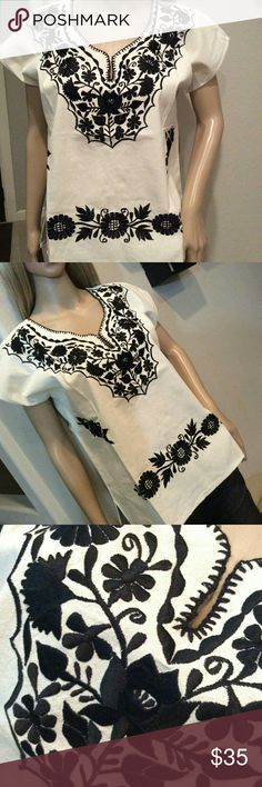 New Mexican Embroidered Top Beige & Black Floral New,  no tags, made in Mexico, natural cotton manta fabric,  all black embroidery, v-neck,  short sleeves,  size Medium. Cielito Lindo  Tops Blouses