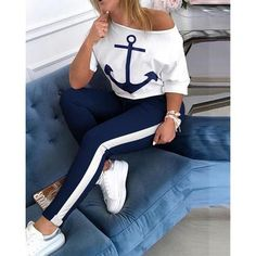 Jumpsuits-0514 Two Piece Pants Set, Two Piece Outfit, Half Sleeves, Types Of Sleeves, Anchor Print, Cheap Shoes Online, Drawstring Pants, Wholesale Clothing, Shoes Wholesale