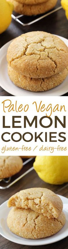 These soft and chewy paleo lemon cookies are vegan, grain-free, gluten-free, and dairy-free. Unlike my last paleo cookie recipe, these paleo… Paleo Dessert, Healthy Sweets, Vegan Desserts, Healthy Eating, Healthy Lemon Desserts, Dessert Recipes, Dessert Bread, Healthy Food, Paleo Cookies