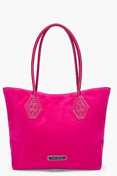 Proenza Schouler Ps1 Small Hot Pink Suede Shopper Tote for women | SSENSE