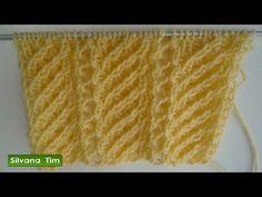 Tejido con dos agujas (palillos) Punto CALADO con LINEAS en DIAGONAL # 355 - YouTube