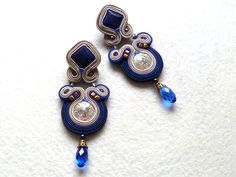 Soutache Earrings Swarovski Lapis Lazuli Elegant by KCSoutache