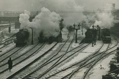 Steam trains at Nottingham Midland Station, date unknown. Train Car, Train Tracks, Train Rides, Nottingham City, Old Steam Train, Railroad Pictures, Steam Railway, Train Journey, Steam Engine