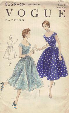 Vogue Sewing Pattern 1950s Vintage Swing Dress Full Skirt Off Shoulder Fitted Belted Waist Straight Neckline Bust 32 Uncut via Etsy