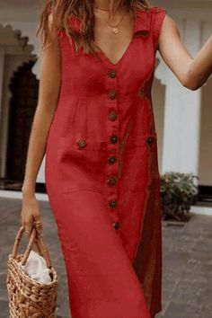 A Turtleneck Sleeveless Button Solid Color Dress – dresses casual,style fashion,pretty casual dresses,casual day dresses,dress Casual Day Dresses, Modest Dresses, Simple Dresses, Elegant Dresses, Pretty Dresses, Dresses For Work, Summer Dresses, Maxi Dresses, Wedding Dresses
