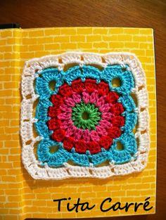 Square Flor de 4 pontas em crochet e Tutorial