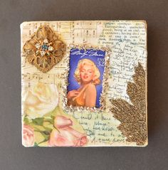 Embellished Gift Box - Altered Art Gift Box - Decorated Box with Marilyn Monroe Image for Jewelry , Holiday Gift and Wedding Gift