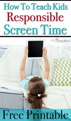 Learn how to Teach Kids Responsible Screen Time usage. How parents can create a balance between electronic devices and other Kids activities, a FREE app to help regulate and teach proper usage, Plus a FREE Printable with Screen Time Rules via @2creatememories