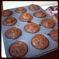 Chocolate peanut butter protein muffins.... Yum