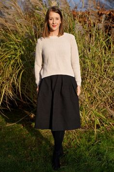 Midi skirt and sweater from H&M