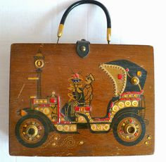 Horseless carriage wooden box bag.
