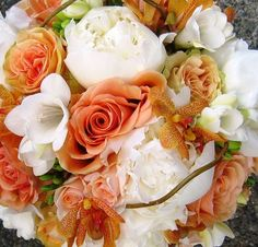 orange wedding flowers green reception wedding flowers,  wedding decor, wedding flower centerpiece, wedding flower arrangement, add pic source on comment and we will update it. www.myfloweraffair.com can create this beautiful wedding flower look.