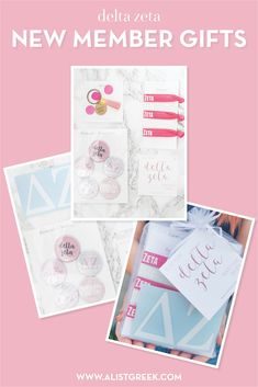 Create the perfect Bid Day gift pack for your Delta Zeta new members! Choose from three gift bag options: Newbie Love, Pref Present or Spoiled. Delta Zeta Gifts | Delta Zeta Bid Day | DZ New Member Gifts | DZ Rush Gift Bags | Delta Zeta Recruitment | Sorority Bid Day | Sorority Recruitment | Bid Day Bags | Sorority New Member Gift Ideas #BidDayGifts #SororityRecruitment Sorority Bid Day, College Sorority, Sorority Recruitment, Bid Day Gifts, Bid Day Themes, Delta Zeta, Gift Bags, Presents, Gifts