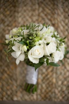 cream white wedding flowers bouquet   (those little flowers with the black centers I love, MJ)