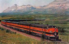 "A company photo of Great Northern's eastbound ""Empire Builder"" near East Glacier Park, Montana and Glacier National Park circa 1955. Courtesy of American-Rails.com."