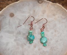 Handcrafted Blue Sea Sediment and Copper Pierced Earrings by TrendyCharm on Etsy
