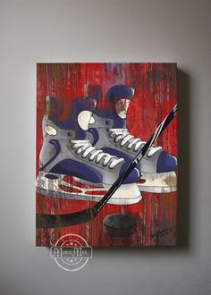 Vintage Hockey Sports Canvas Art , Art for Children Kids Wall Art, All Star Wall Hanging, Baby Boys Room Art, Canvas Reproduction