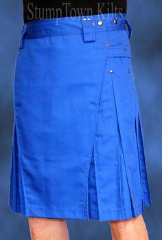 Men's Royal Blue Kilt w/Gunmetal Rivets: StumpTown Kilts Men's & Women's Modern Utility Kilts Made in USA Man Skirt, Dress Skirt, Feminine Traits, Modern Kilts, Guys In Skirts, Utility Kilt, Men In Kilts, Pleated Fabric, Sexy Men