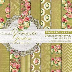 Green Roses Digital Paper Pack Instant Download by froufroucraft