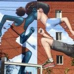 """This clever new mural by Julien Malland, aka Seth Globepainter (previously here and here) just appeared on the streets of Montreal. The piece depicts two children running into each other in his trademark faceless style, but also incorporates the building's brick facade to create their pixelated clothes. The mural was organized by MU, an organization that coordinates murals around Montreal """"to trigger a social transformation a    -       A New Mural by Seth Globepainter on the Streets of…"""