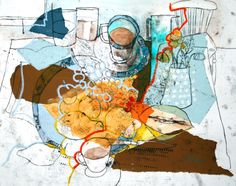 Shirley Trevena Quince & Blue China - Monoprint, Collage, Oil Pastel & Watercolour 30 x 40 cm Pastel Watercolor, Watercolor Paintings, Watercolors, Painting Canvas, Oil Paintings, Shirley Trevena, Principles Of Art, Collage Artists, Collages