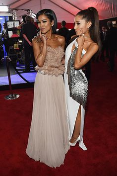 Jhene Aiko and Ariana Grande attend The 57th Annual GRAMMY Awards at the STAPLES Center on February 8, 2015 in Los Angeles, California.
