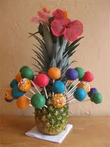 Luau cake pops- I like this idea to hold the cake pops in- Sara