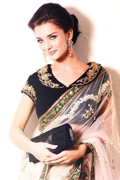 Some Lesser Known Facts About Amy Jackson Does Amy Jackson smoke?: No Does Amy Jackson drink alcohol?: Yes Amy hails from UK, where she won 3 beauty pagean Saree Blouse Patterns, Sari Blouse Designs, Fancy Blouse Designs, Blouse Styles, Amy Jackson In Saree, Actress Amy Jackson, Anarkali, Lehenga, Indian Designer Wear