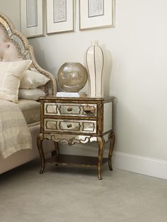 Mirrored Leg Nightstand - ON SALE by Hooker Furniture - Home Gallery Stores