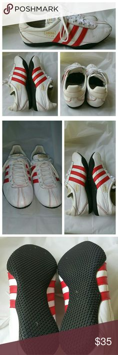 Addidas Titan Red & White Sneakers Size 8.5 Very Good Pre-owned Condition!Minor minimal sign of wear consistent with use.  Size 8.5. Please view my Closet for additional designer items. Thank you. Adidas Shoes Sneakers