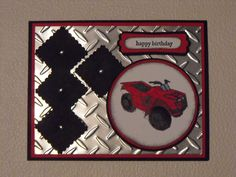 Need for speed ; Cuttlebug Diamond plate embossing folder ; Masculine card ; Birthday
