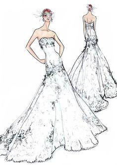 Sketch of Jonna Walsh's American Idol Wedding Dress (Courtesy of Watters)