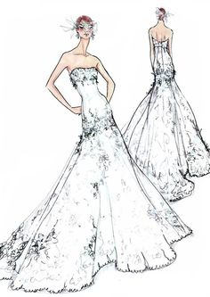 Sketch of Jonna Walsh's American Idol Wedding Dress (Courtesy of Watters)
