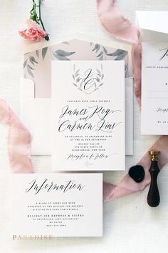 Carmen Soft Pink Calligraphy Wedding Invitation Sets, Printable Invitations or Printed Wedding Invitation Sets, Wreath Monogram