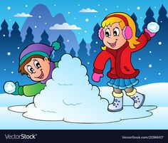 Illustration about Winter scene with skating girl - vector illustration. Illustration of draw, graphic, recreation - 21941296 Winter Fun, Winter Time, Drawing Scenery, Free Online Jigsaw Puzzles, Winter Images, Illustrations, Snowball, Winter Scenes, Kids Education