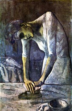 """The ironing woman"" by Picasso  Before he painted her, he painted another portrait on the same canvas. Only infrared cameras could show it."