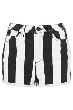 MOTO Wide Stripe Denim Hotpant by Topshop