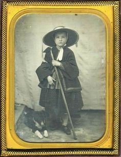 """""""You can come and work in my garden any time, and of course, you can bring your dog.""""  A delightful little gardener...ca. 1850!"""