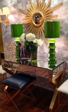 Vignette Ideas. Mirrored Console. Green Lamps. Small seating table, matching lights and a mirror or art.