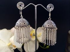 Large Silver Jhumka Earrings,Tribal chain Jhumkas,Chainmaille Jewelry,Indian Jhumka,Exotic Jewelry,Jhumkis, Designer Jewelry by TANEESI by taneesijewelry on Etsy