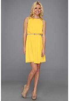 ShopStyle.com: Jessica Simpson - Pleated Dress (Yellow) - Apparel $49.99