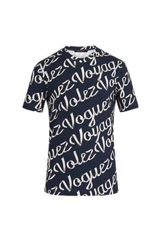 """Volez Voguez Voyages"" Printed T-shirt in Marine Nuit from Louis Vuitton Autumn-Winter 2016 collection. 90% cotton, 10% elastane."