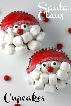 Learn to make these adorable and easy Santa Claus cupcakes, fun for your upcoming Christmas parties! | CatchMyParty.com