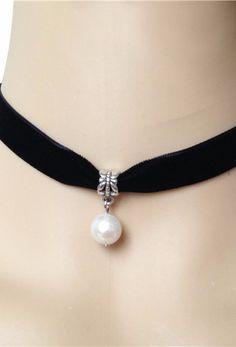 Black Deco Velvet Pearl Ribbon Choker Necklace
