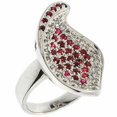 1.05 Cttw Round Diamonds and Ruby Evening Cocktail Ring 14K White Gold #Cocktail