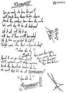 Bullet For My Valentine Handwritten Lyrics To U0027Riotu0027